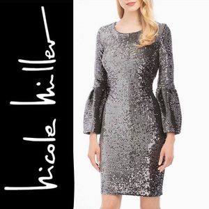 NWT SEQUIN SILVER MINI DRESS BELL SLEEVE New Years